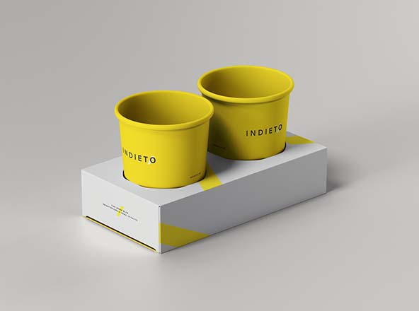 Coffee Cup Holder Box Mockup