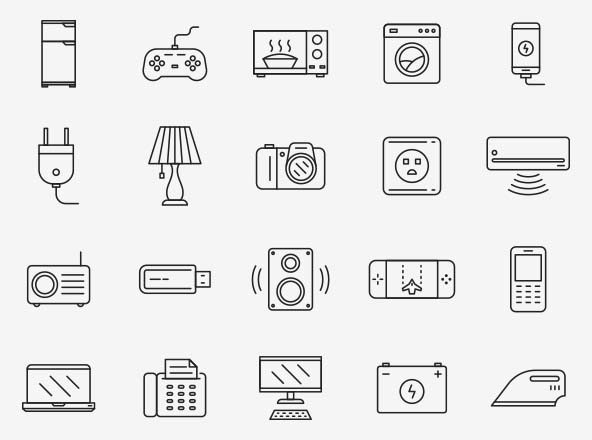 Electronics Vector Iconsronics icons for designing your e-commerce websites, apps, and printed publications. The set comes in a minimal line style.