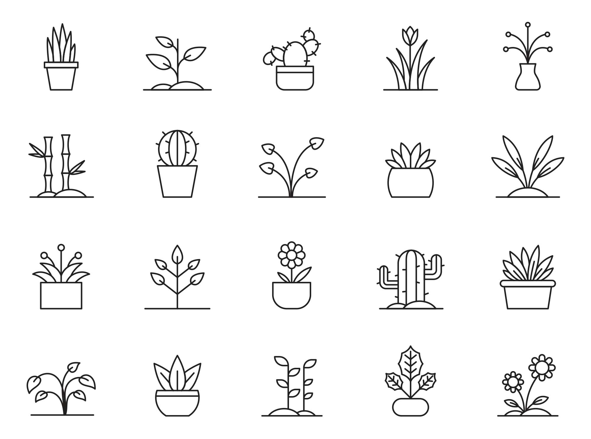 Potted Plants Vector Icons 2