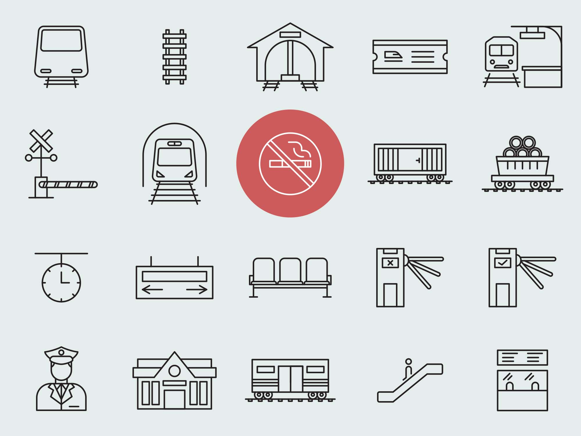 Train Station Vector Icons