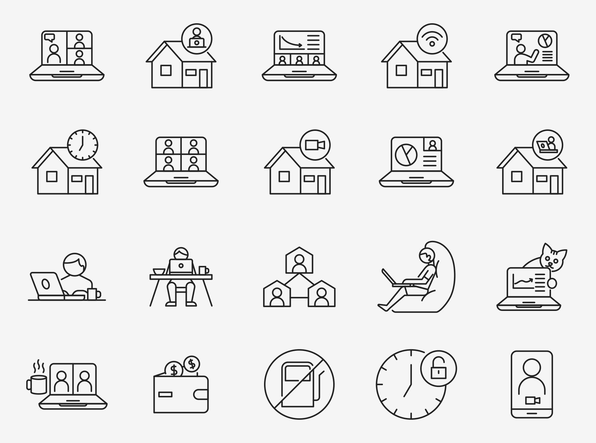 Work From Home Vector Icons