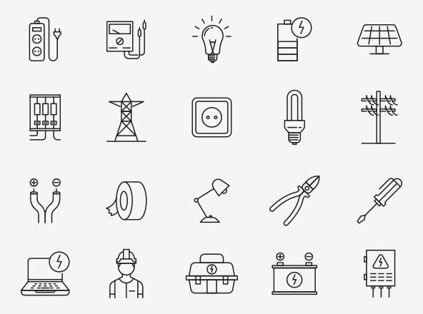 Electrician Vector Icons