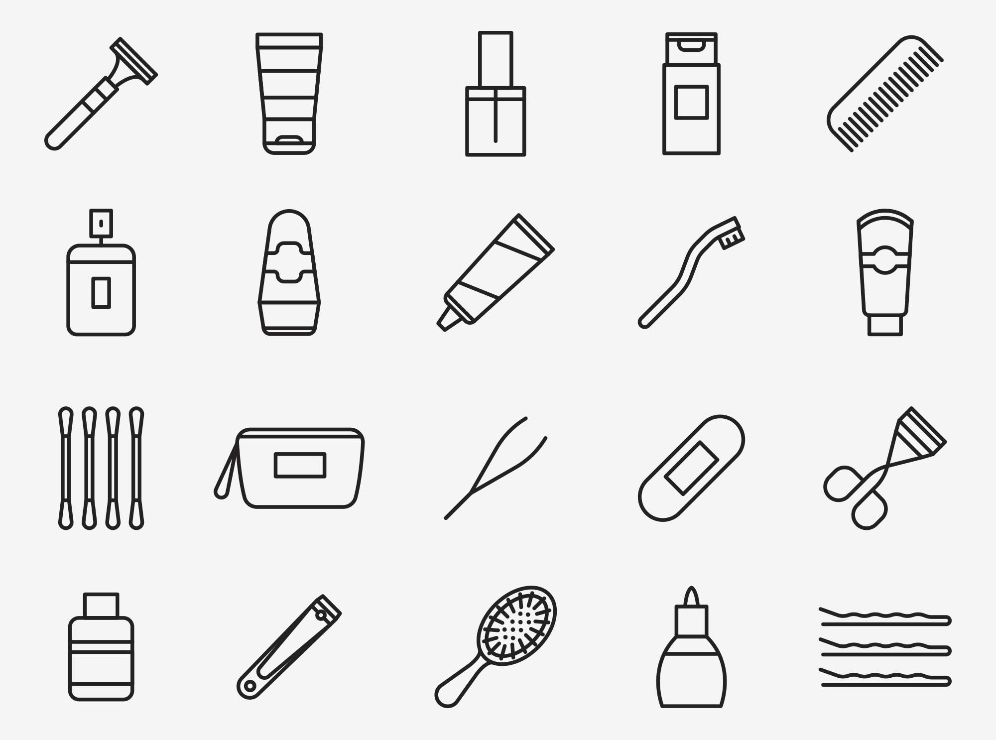 Toiletries Vector Icons