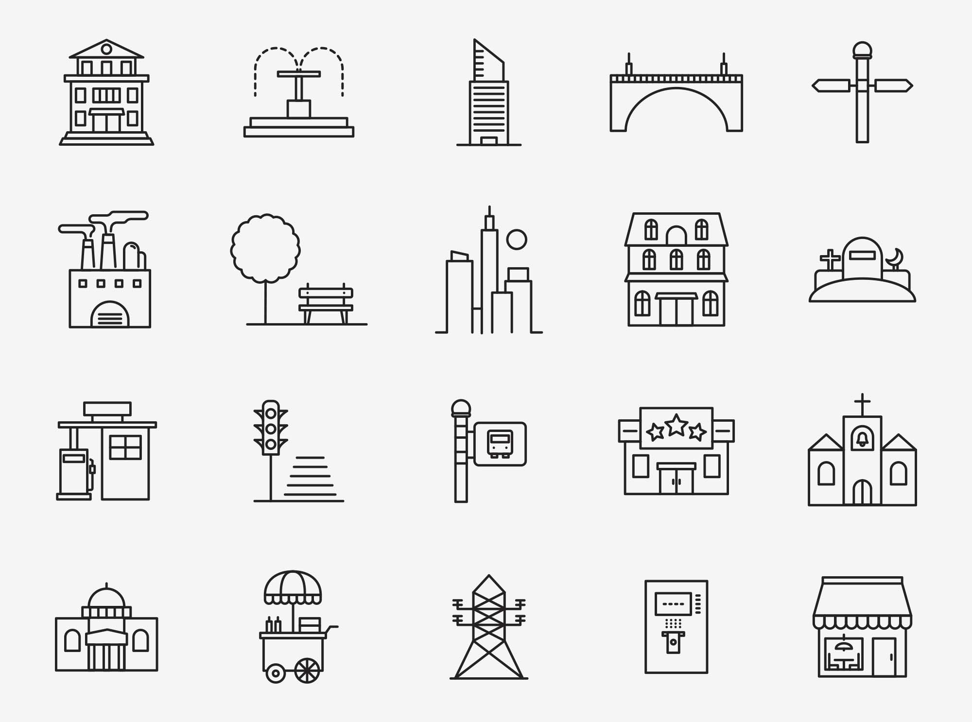 Town Vector Icons