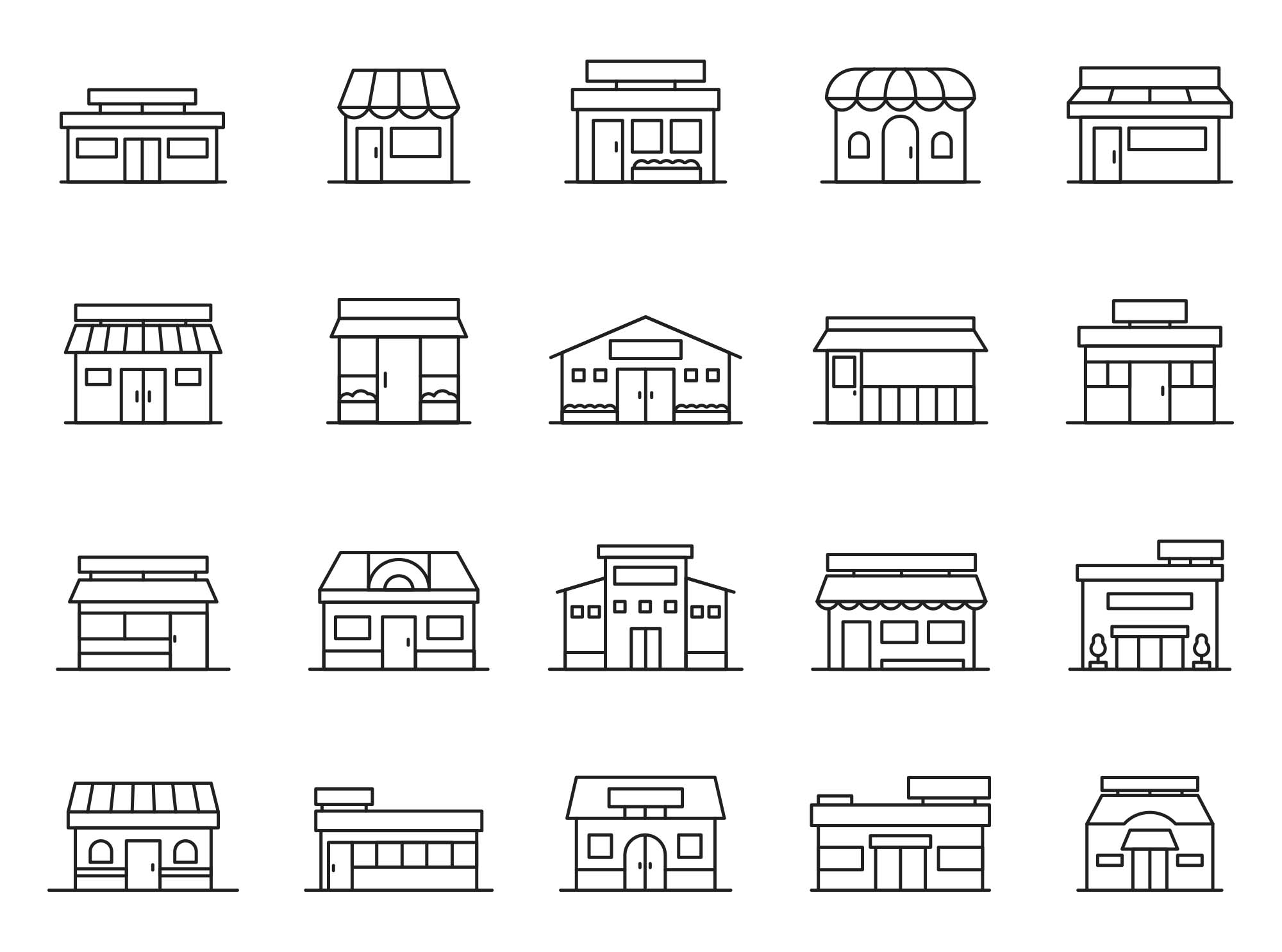 Front Shop Vector Icons
