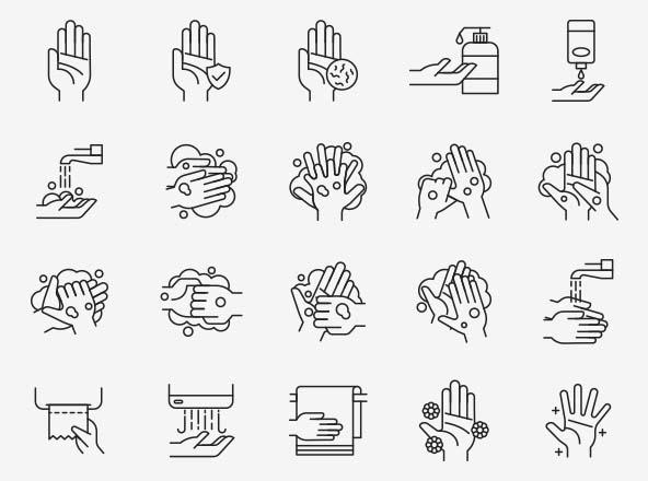Hand Washing Vector Icons