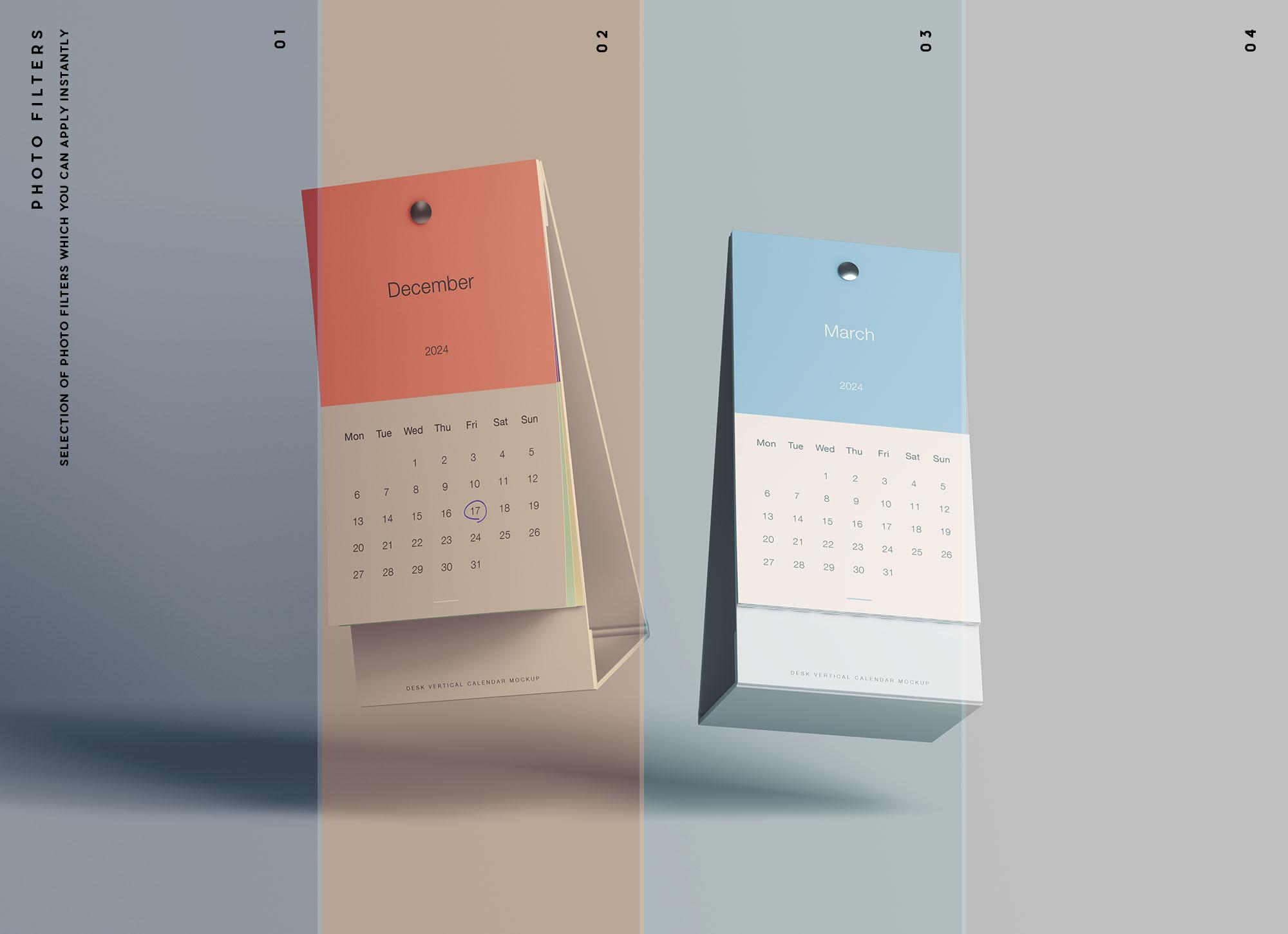 Vertical Calendar Mockup Filters