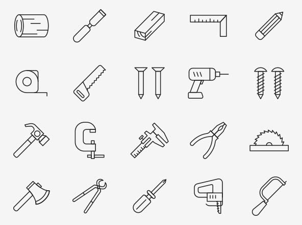 Woodworking Tools Vector Icons