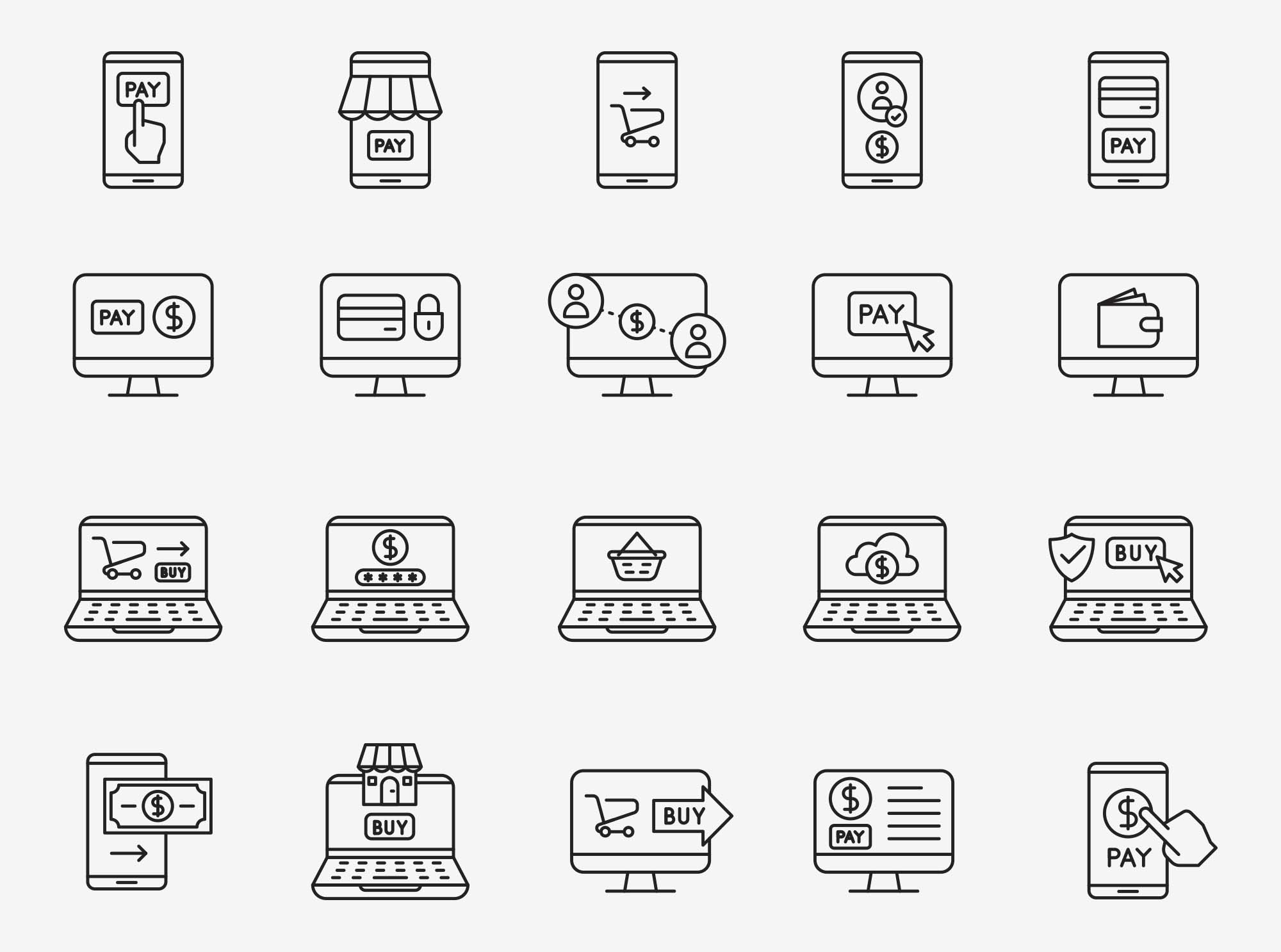 Online Payment Vector Icons