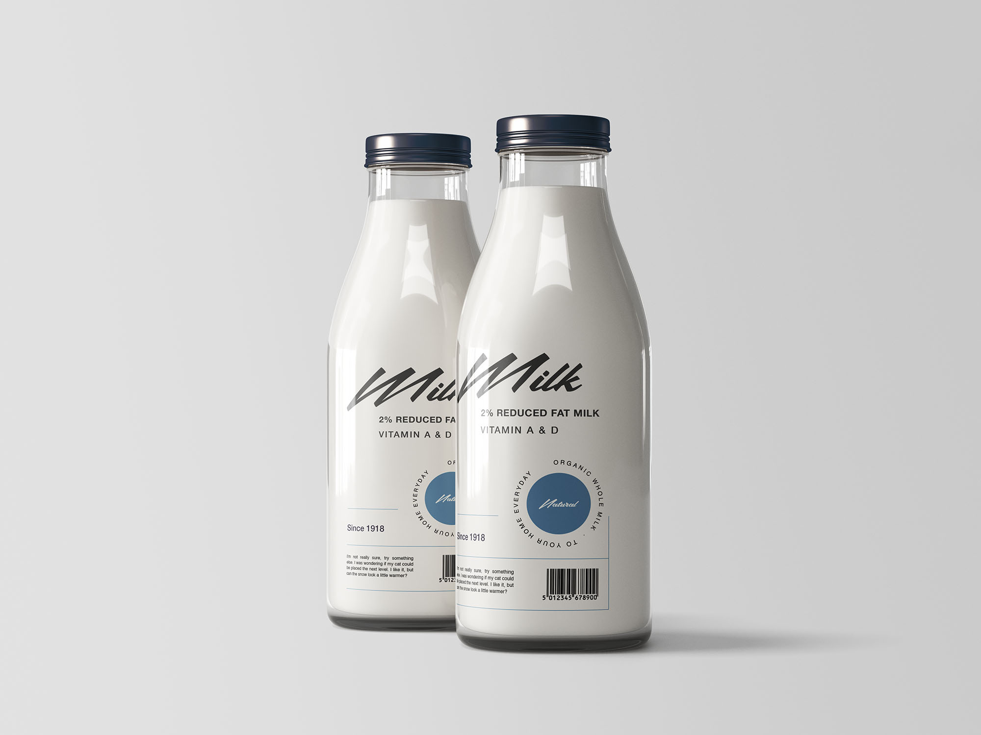 Two Milk Bottles Mockup
