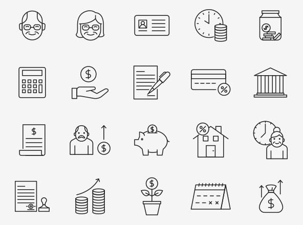 Retirement Vector Icons