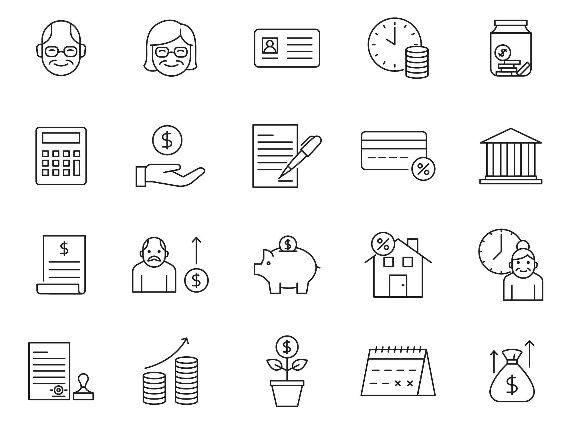 Retirement Vector Icons