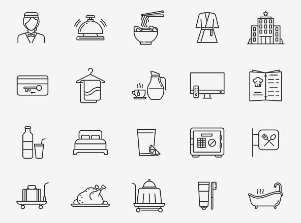 Hotel & Restaurant Vector Icons