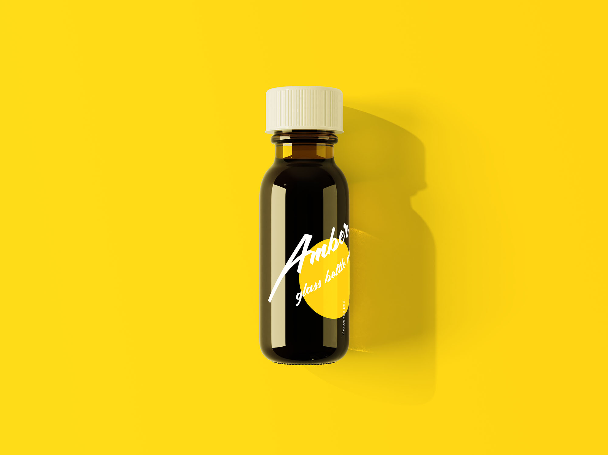 Amber Glass Mini Bottle Mockup
