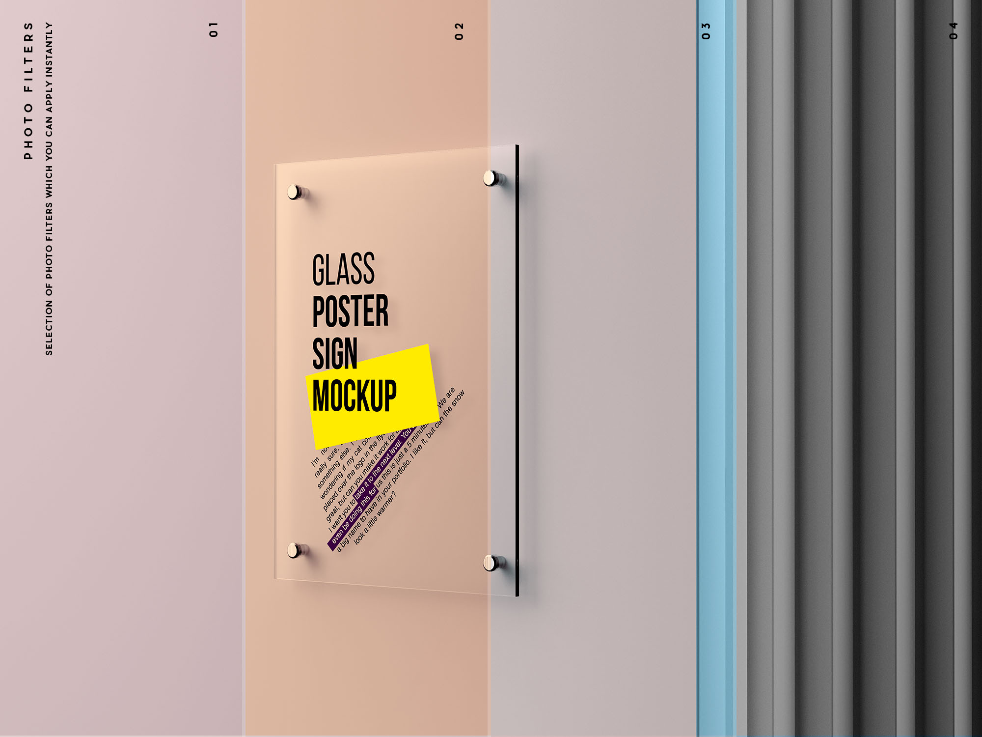 Glass Poster Mockup Filters