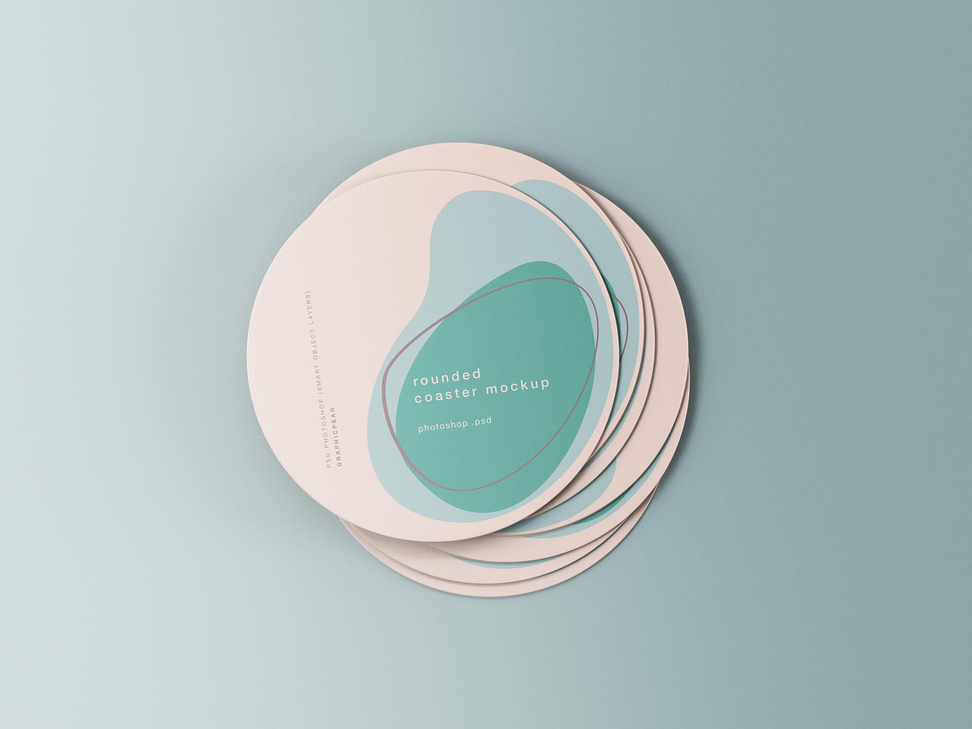 Minimal Rounded Coasters Mockup
