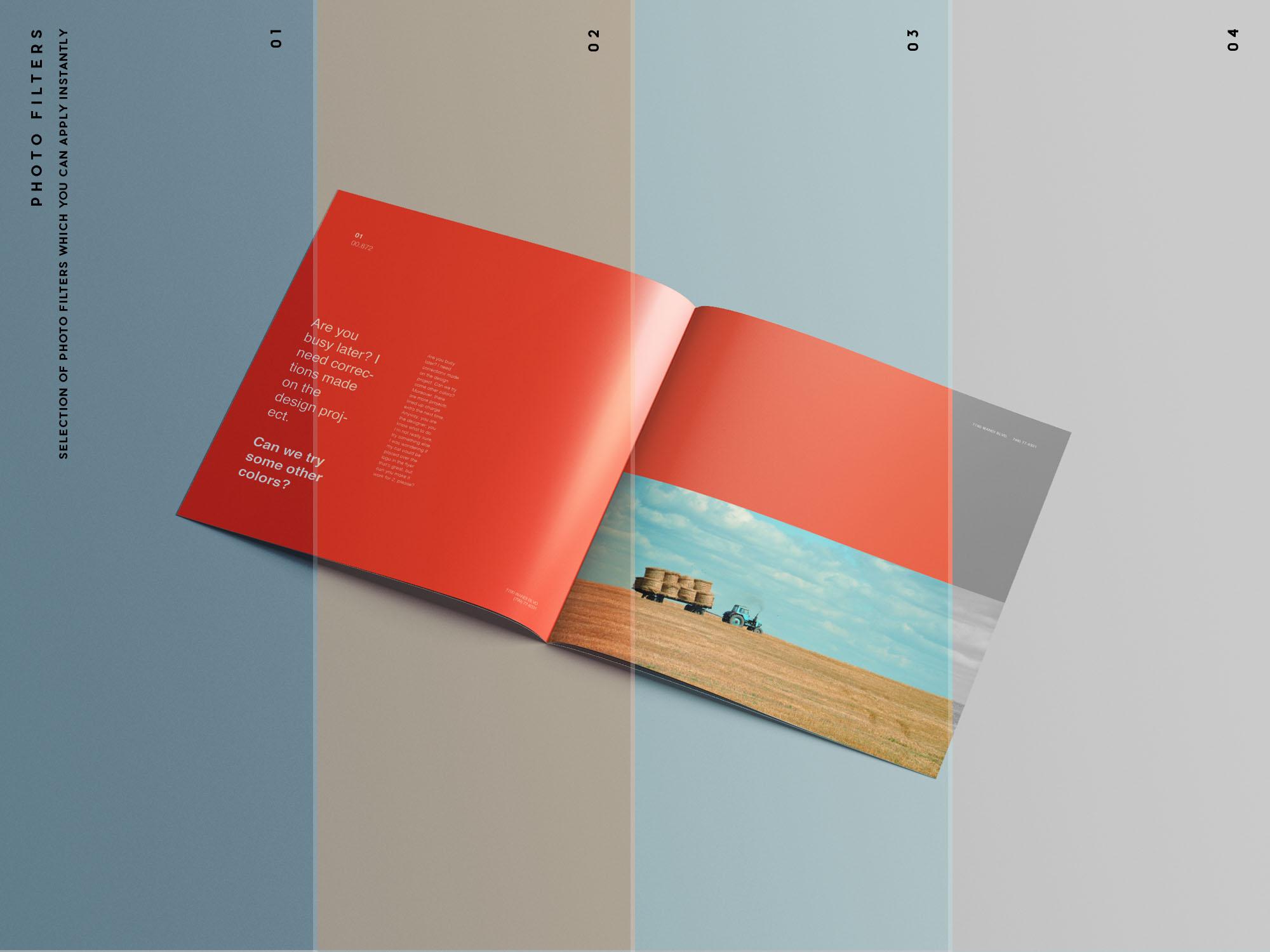 Square Brochure Mockup Filters