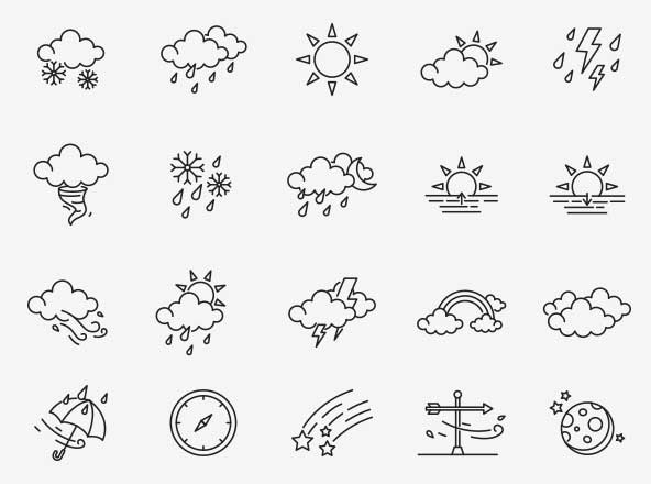 80 Weather Vector Icons
